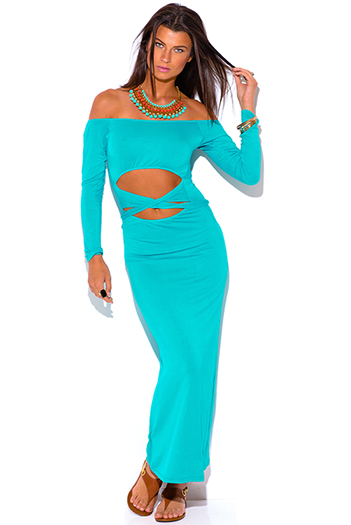 $10 - Cute cheap black ruffle off shoulder tiered formal evening maxi sun dress - turquoise blue cut out off shoulder long sleeve summer maxi sun dress