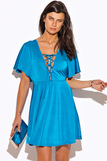 $15 - Cute cheap blue party dress - turquoise blue laceup deep v neck kimono sleeve a line sexy club mini dress