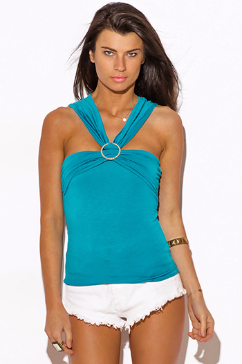 $10 - Cute cheap clothes - turquoise blue o ring bejeweled fitted sexy party top