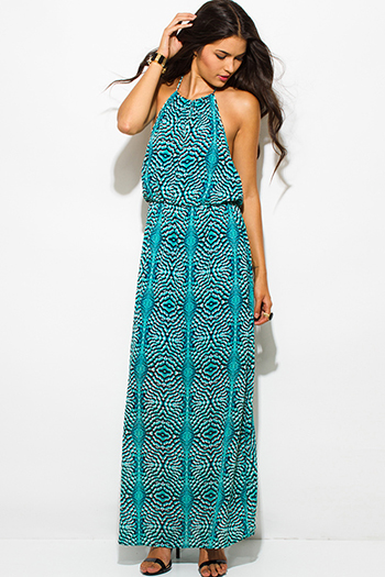 $25 - Cute cheap print slit kimono dress - turquoise blue peacock print chiffon keyhole halter neck backless evening maxi sun dress