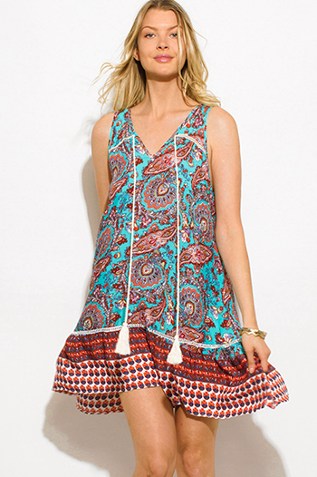 $15 - Cute cheap beige boho mini dress - turquoise green paisley print sleeveless tassel tie boho mini sun dress