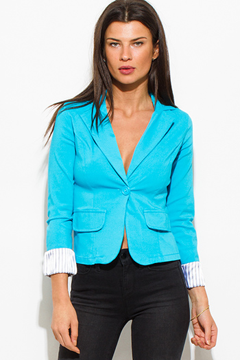 $15 - Cute cheap blue ribbed top - turquoise teal blue single button fitted pinstripe cuffed suiting blazer jacket top