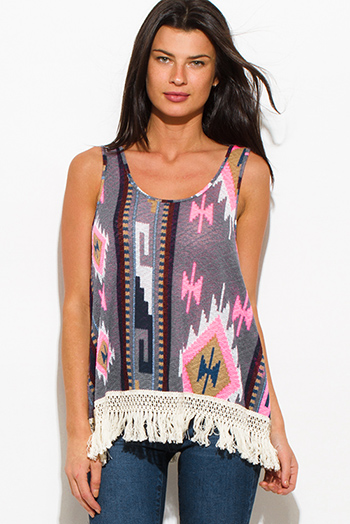 $15 - Cute cheap fringe top - violet gray multicolor ethnic print fringe trim boho tank top