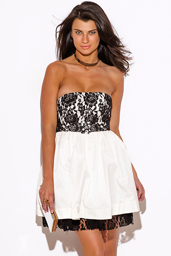 $15 - Cute cheap white dress - white and black lace belted strapless cocktial sexy party mini dress