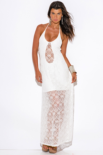 $40 - Cute cheap white dress - white baroque crochet lace halter v neck formal summer evening sexy party maxi dress
