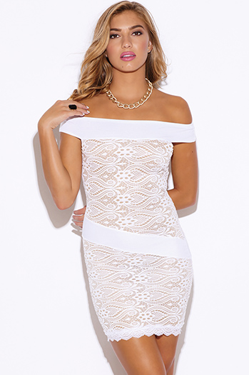 $20 - Cute cheap ribbed lace fitted bodycon party mini dress - white baroque lace off shoulder fitted cocktail party sexy club mini dress
