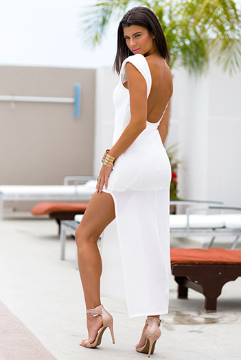 $25 - Cute cheap sexy party maxi dress - white bejeweled asymmetrical high slit backless evening party fitted ankle maxi dress