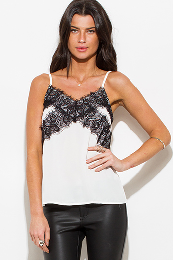 $15 - Cute cheap chiffon lace slit top - white black lace contrast spaghetti strap camisole top
