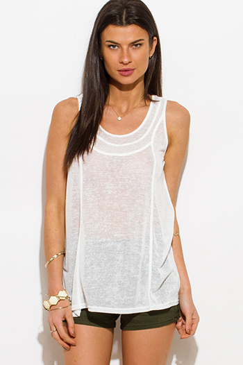 $10 - Cute cheap white ribbed knit cut out shoulder scoop neck short sleeve tee shirt top - white burnout scoop neck tank top
