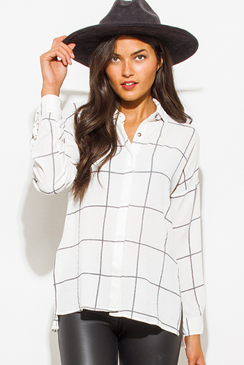 $15 - Cute cheap gauze boho blouse - white checker grid print button up long sleeve boho blouse top