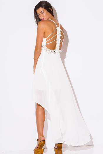 $15 - Cute cheap white dress - white chiffon bejeweled cut out back caged backless high low formal cocktail sexy party dress