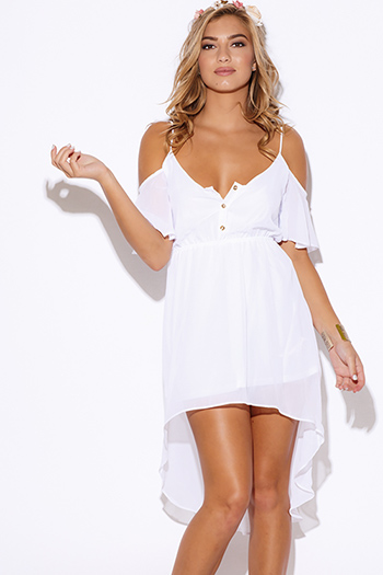 $20 - Cute cheap ruffle cape sexy party jumpsuit - white chiffon cold shoulder ruffle high low boho party dress