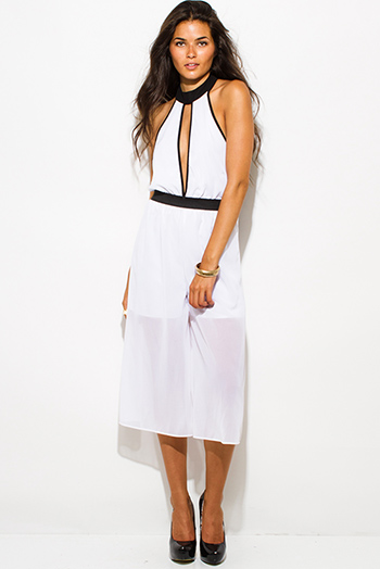 $20 - Cute cheap mesh sheer backless jumpsuit - white chiffon color block cut out high neck backless cropped sexy clubbing midi jumpsuit