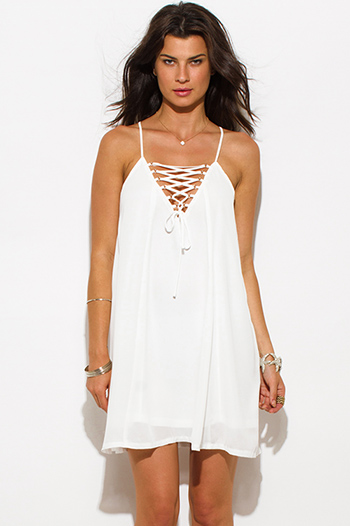 $15 - Cute cheap white ripped skinny jeans.html - white chiffon laceup cocktail party sexy club trapeze mini dress