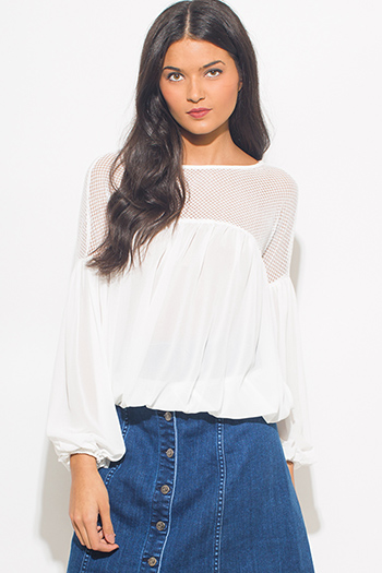 $15 - Cute cheap cotton boho crochet top - white chiffon long blouson sleeve crochet mesh panel boho blouse top