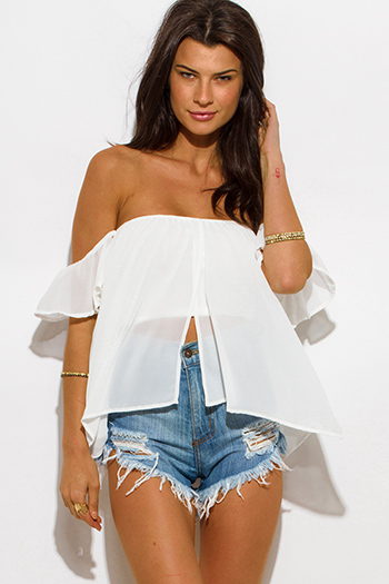 $15 - Cute cheap cute junior off shoulder denim jumpsuit - white chiffon off shoulder boho crop top