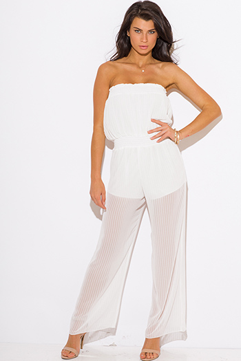 $15 - Cute cheap jumpsuit for women - white chiffon overlay wide leg strapless sexy party jumpsuit