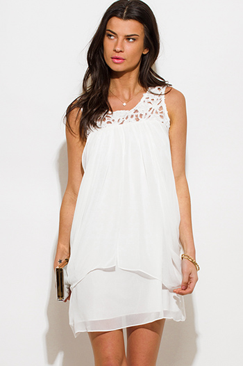 $15 - Cute cheap crepe sexy party sun dress - white chiffon see through mesh lace draped tiered cocktail party mini dress