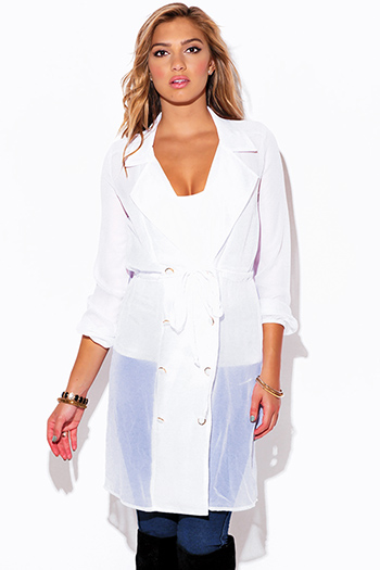 $15 - Cute cheap chiffon dress - white chiffon blouson sleeve semi sheer double breasted trench coat dress