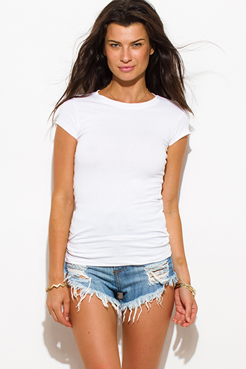 $7 - Cute cheap clothes - white cotton round neck short sleeve fitted tee shirt top