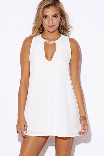 $25 - Cute cheap white asymmetrical sexy party dress - white crepe bejeweled cut out v neck pleated cocktail party shift mini dress