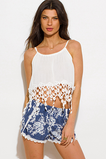 $10 - Cute cheap white fishnet mesh crop top shorts sexy clubbing set - white crochet fringe trim resort boho crop top