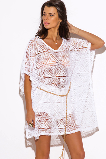 $10 - Cute cheap clothes - white crochet lace bejeweled butterfly sleeve boho tunic beach cover up top