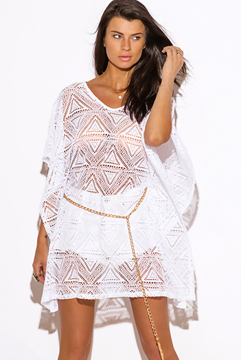 $10 - Cute cheap cheap clothes embroidered kimono sleeve boho tunic top - white crochet lace bejeweled butterfly sleeve boho tunic beach cover up top