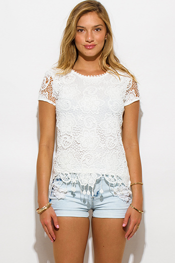 $15 - Cute cheap clothes - white crochet lace overlay fringe trim top