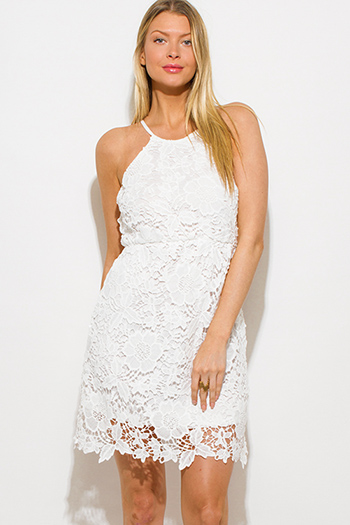 $15 - Cute cheap lace backless slit dress - white crochet lace scallop hem pencil fitted boho mini sun dress