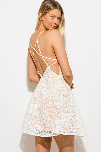 $25 - Cute cheap blue fitted sexy party mini dress - white crochet lace sweetheart neck criss cross backless cocktail party skater mini dress