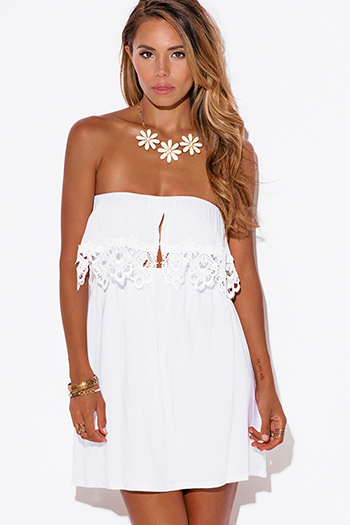 $25 - Cute cheap white dress - white crochet lace trim ruffle strapless mini sun dress