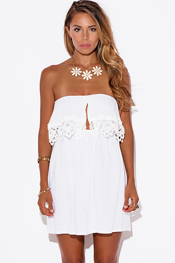 $15 - Cute cheap strapless crochet mini dress - white crochet lace trim ruffle strapless mini sun dress