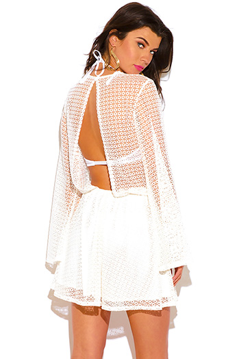 $10 - Cute cheap lace boho mini dress - white crochet lace wrap cut out backless boho summer beach mini dress