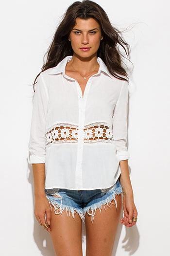 $15 - Cute cheap white crochet top - white crochet trim contrast button up boho blouse top