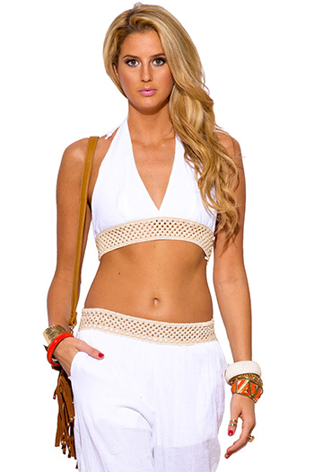 $5 - Cute cheap peach pink cotton gauze crochet trim spaghetti strap keyhole back boho resort romper jumpsuit - white crochet trim cotton gauze boho resort halter crop top