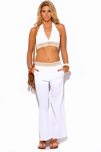 $15 - Cute cheap white boho crochet romper - white crochet trim cotton gauze boho resort wide leg pants