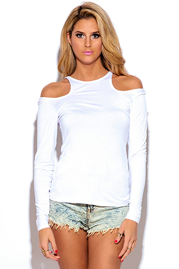 $10 - Cute cheap cut out sides banded waisted tank top - white cut out cold shoulder long sleeve fitted tee shirt jersey top