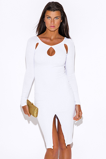 $20 - Cute cheap styles vegas dress sexy club party clubbing sequined neck bodycon metallic - white cut out neck long sleeve high slit bodycon fitted open back club party midi dress