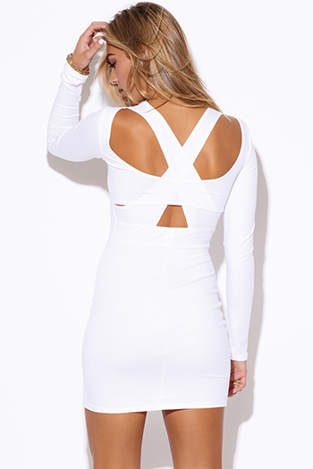 $20 - Cute cheap white dress - white cut out open back fitted bodycon backless sexy club mini dress