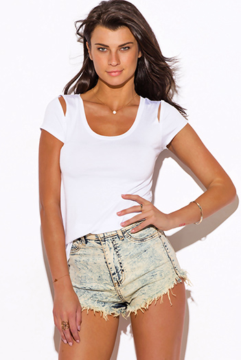 $10 - Cute cheap career wear - white cut out shoulder scoop neck short sleeve tee shirt top