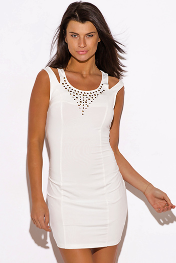 $15 - Cute cheap white dress - white cut out shoulder stud bejeweled fitted sexy club mini dress