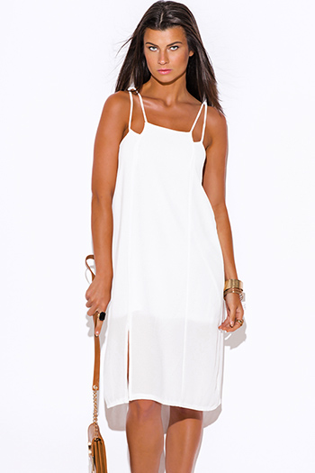 $20 - Cute cheap white crepe sexy party dress - white cut out side slit crepe party midi sun dress