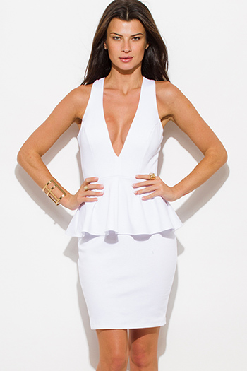 $20 - Cute cheap white sexy party mini dress - white deep v neck cross back fitted bodycon cocktail party peplum mini dress