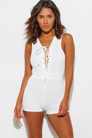$15 - Cute cheap jumpsuit for women.html - white deep v neck laceup sleeveless fitted bodycon sexy clubbing romper jumpsuit