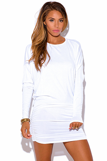 $15 - Cute cheap cute juniors dolman sleeve color block ruched sexy clubbing dress - white dolman long sleeve ruched summer club mini dress