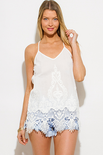 $15 - Cute cheap ivory white rayon gauze spaghetti strap babydoll boho tank top - white embroidered scallop crochet lace hem criss cross back boho tank top