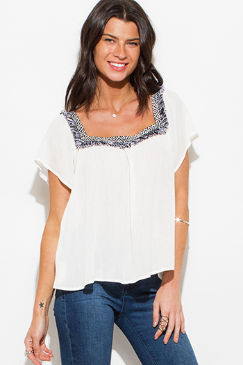 $15 - Cute cheap ivory white textured chiffon laceup tie front cap sleeve boho blouse top  - white embroidered short sleeve boho peasant blouse top