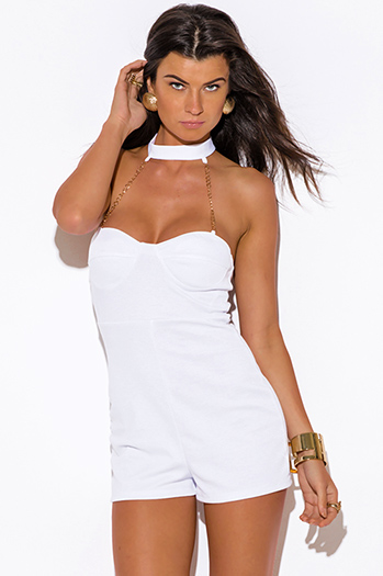 $10 - Cute cheap white gold chain bejeweled choker bustier fitted bodycon sexy clubbing romper jumpsuit