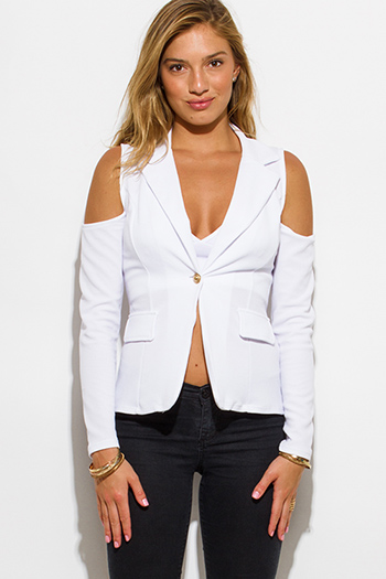 $25 - Cute cheap cold shoulder jacket - white golden button long sleeve cold shoulder cut out blazer jacket